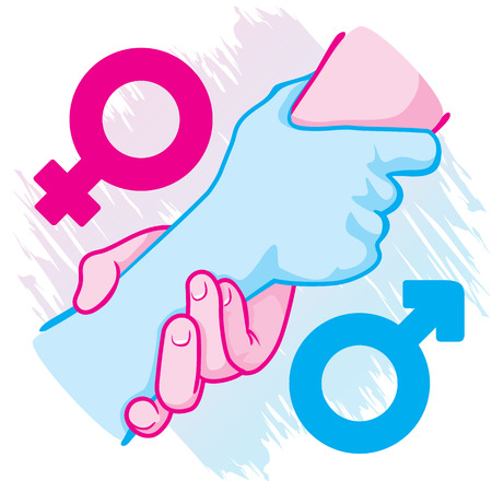 heterosexual: Illustration of an icon symbol hands leaning female heterosexual couple holding. Ideal for catalogs, informative and institutional materials