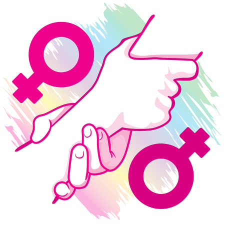 homosexual: Illustration of an icon symbol hands leaning female homosexual couple holding. Ideal for catalogs, informative and institutional materials