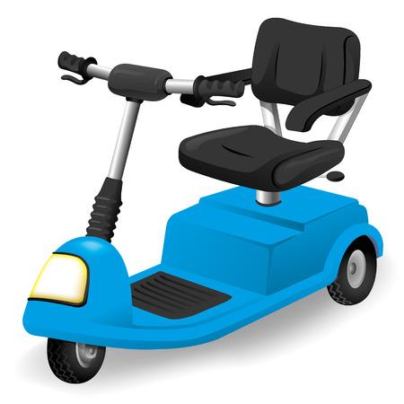 MOTORIZADO: Ilustración objeto accesorio de silla de ruedas, eléctrico o con motor. Ideal para catálogos, informativo e institucional