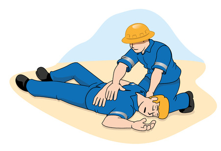unconscious: Scene first aid illustration shows the person providing assistance to another person unconscious. Ideal for catalogs, informative and medical guides