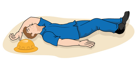 Illustration scene of the 1st aid worker fallen unconscious person. Ideal for catalogs, informative and medical guides