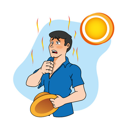 First aid scene illustration shows a worker person with heat stroke and heat. Ideal for catalogs, informative and medical guides Vectores