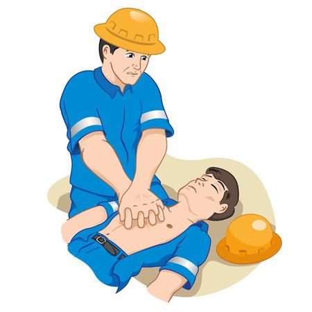 Illustration ist ein Offizier tut CPR auf einem Kerl ohnmächtig versucht, ihn wiederzubeleben. ideal, um Erleichterung und medizinischen Lehrbüchern Lektionen Standard-Bild - 43830034