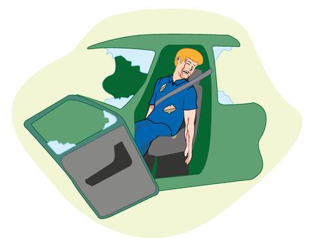 maniaco: Prima scena aiuti incidente d'auto illustrazione lavoratore con ferito incosciente. Guide Ideale per cataloghi, informativi e medici Vettoriali