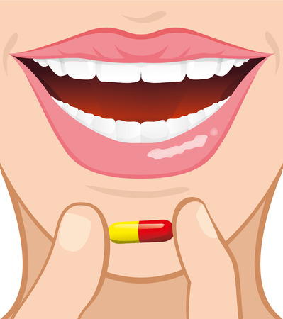 outpatient: Illustration of a person holding a capsule with fingers and taking the product until the mouth. Ideal for catalogs, informative and medical guides Illustration