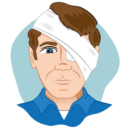Illustration of a human head with bandages bandage. Ideal for catalogs, information and first aid guides Vectores