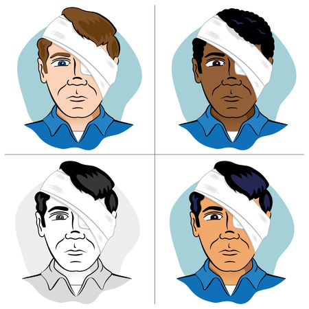 guides: Illustration of a human head bandaged with bandages and bandage the eye. Ideal for catalogs, newsletters and first aid guides Illustration