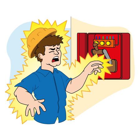 Illustratie die een persoon die wordt geëlektrocuteerd in een elektrische power box als gevolg van een ongeval op het werk. Ideaal voor catalogi, nieuwsbrieven en EHBO-gidsen Stockfoto - 43830047