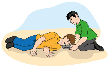 unconscious: Unconscious person support the head. Ideal for catalogs, information and first aid guides Illustration
