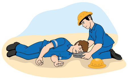 accidents: Unconscious person support the head. Ideal for catalogs, information and first aid guides Illustration