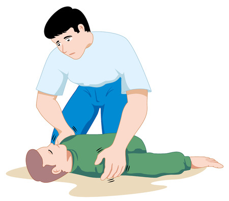Scene first aid illustration shows the person providing assistance to another person unconscious. Ideal for catalogs, informative and medical guides