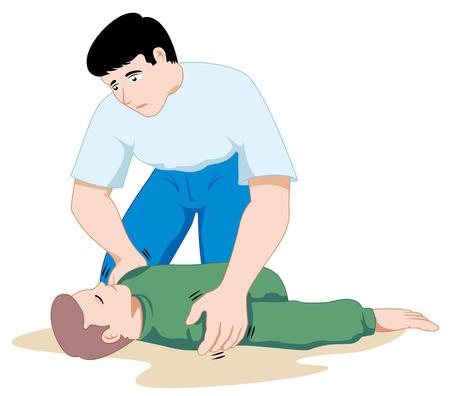 Szene Erste-Hilfe-Abbildung zeigt die Person, die Unterstützung von einer anderen Person bewusstlos. Ideal für Kataloge, informative und medizinische Führungen Standard-Bild - 43830054