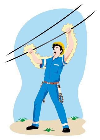 Illustration, die eine Person in einem elektrischen Draht bei der Arbeit zu einem Unfall durch Stromschlag. Ideal für Kataloge, Newsletter und Erste-Hilfe-Führer Standard-Bild - 43848616