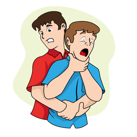 First aid scene illustration shows a person with osbtruida Their airways, Heimlich maneuver. Ideal for catalogs, informative and medical guides