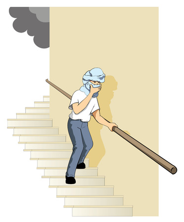 Safety, fire escape. Ideal for catalogs, informative and safety guidelines at work Ilustração