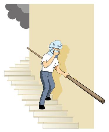 brandweer cartoon: Veiligheid, brandtrap. Ideaal voor catalogi, informatief en veiligheidsvoorschriften op het werk