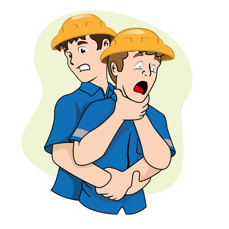 maneuver: First aid scene illustration shows a person with osbtruida Their airways, Heimlich maneuver. Ideal for catalogs, informative and medical guides