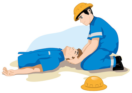 victim: Unconscious person support the head. Ideal for catalogs, informative and safety guidelines at work