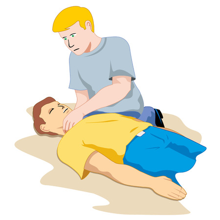 First Aid person passed out, feel the pulse. Ideal for catalogs, informative and medical guides Stock fotó - 43848619