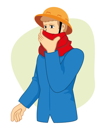 suffocation: Person protecting the nose and mouth to keep from inhaling poisonous gases Caused by an accident at work. Ideal for catalogs, informative and safety guides
