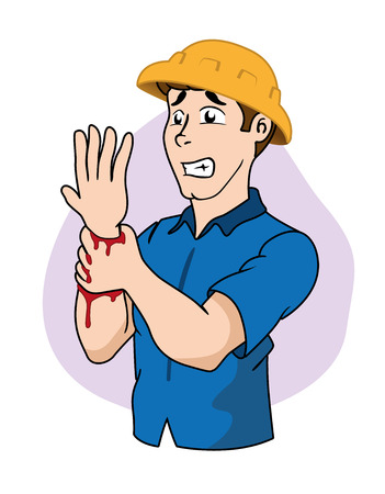 maniaco: Illustration First Aid person cutting arm wound, bleeding. Ideal for catalogs, informative and medical guides Vettoriali