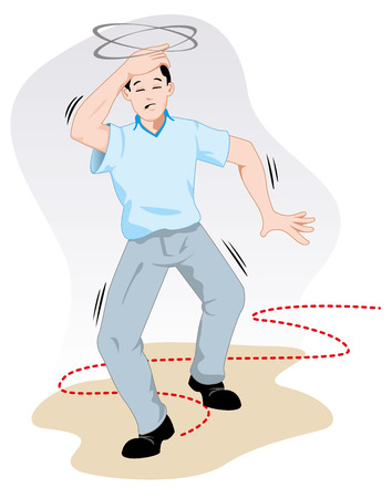 First aid scene illustration shows a person reeling with dizziness. Ideal for catalogs, informative and medical guides