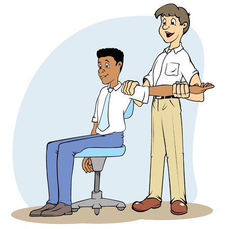 break joints: Illustration of a boy applying stretching exercises on a co-worker. Ideal for catalogs, informative and safety guidelines at work Illustration