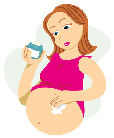 Pregnant mother passing cream against stretch marks and blemishes. Ideal for catalogs, informative and pregnancy guides