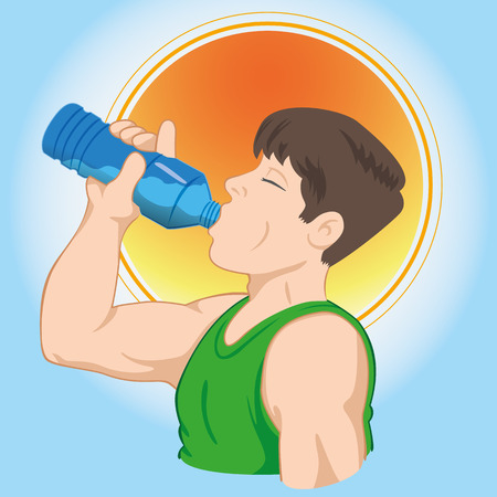 man drinking water: Illustration representing man athlete drinking water and hydrating. Ideal for catalogs, informative and medical guides.
