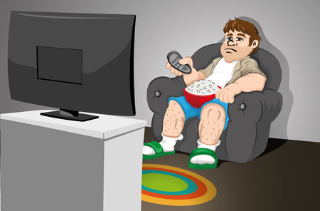 Illustration representing a sedentary man sitting on the couch watching TV. Ideal for catalogs, informative and medical guides