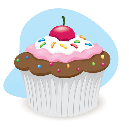 little chef: Illustration of sweet cupcake dessert food. Ideal for informational culinary and institutional
