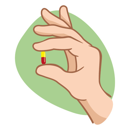 outpatient: Illustration of a person holding a capsule until your mouth with your fingers. Ideal for educational and informational materials for health