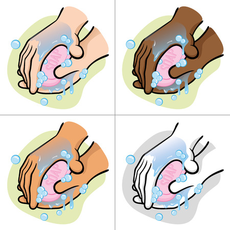 washing hands: Illustration of a person washing hands with soap Their ethnic