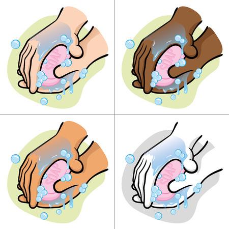 habitos saludables: Ilustración de una persona de lavarse las manos con jabón Su étnica Vectores