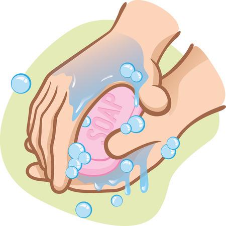 de higiene: Ilustración de una persona de lavarse las manos con agua y jabón Su