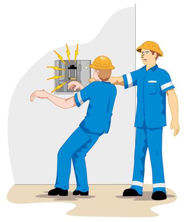 accidente laboral: Ilustraci�n que representa a un funcionario que recibe la red de alta tensi�n de ma emu descarga el�ctrica debido a un accidente de trabajo Vectores
