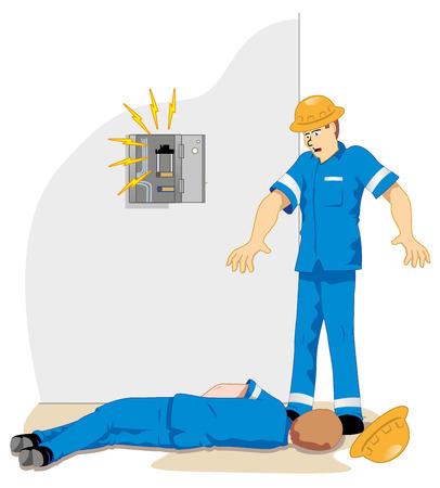 accidente de trabajo: Ilustraci�n que representa a un funcionario que recibe la red de alta tensi�n de ma emu descarga el�ctrica debido a un accidente de trabajo Vectores