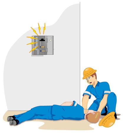 accidente trabajo: Ilustraci�n que representa a un funcionario que recibe la red de alta tensi�n de ma emu descarga el�ctrica debido a un accidente de trabajo Vectores