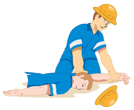 safety helmet: Illustration representing fainting being positioned due to a work accident.