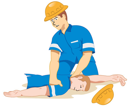 fainted: Illustration representing fainting being positioned due to a work accident.