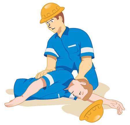 workplace safety: Illustration representing fainting being positioned due to a work accident.