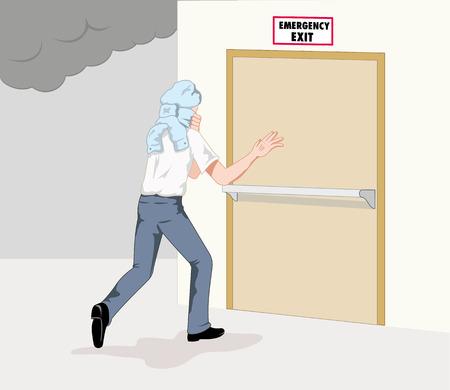 evacuacion: Seguridad en el trabajo, persona corriendo por la puerta de incendios. Ideal para equipos de seguridad y guías de lucha contra incendios
