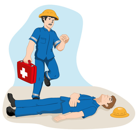 safety first: Safety, officer running with first aid kit to help injured colleague. Ideal for training and information materials Illustration