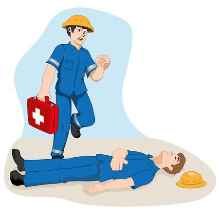 botiquin de primeros auxilios: Seguridad, oficial corriendo con botiqu�n de primeros auxilios para ayudar colega lesionado. Ideal para materiales de formaci�n e informaci�n Vectores