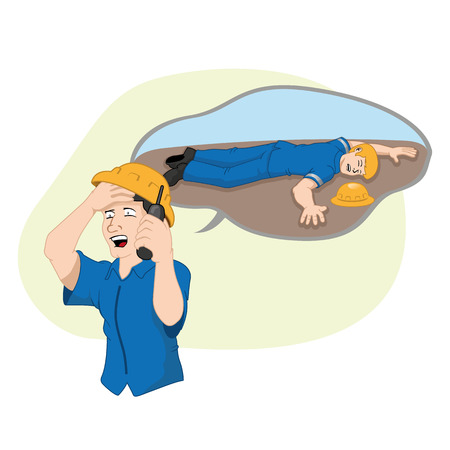 Safety at work, employee communicating and asking for help to a wounded colleague. Ideal for training and information materials Illustration