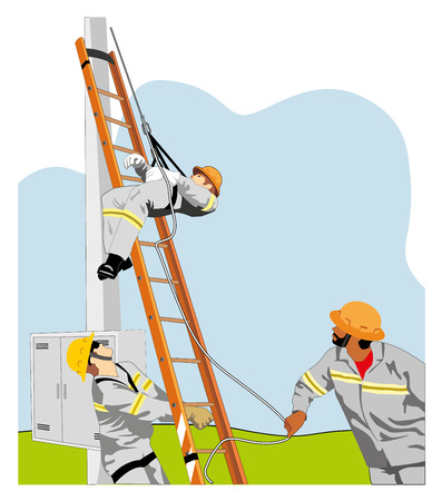 fainted: Illustration of the workers performing the rescue of a fellow worker unconscious Illustration
