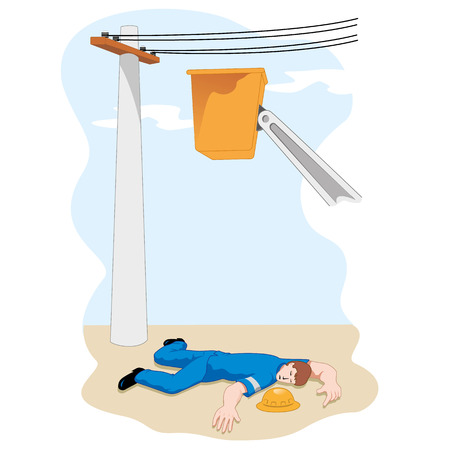 occupational risk: Illustration shows the Employee fainted after suffering a big drop