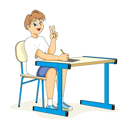 Health, child student sitting correct posture. Ideal for catalogs, informative and medical guides