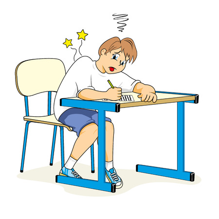 Health, child student sitting wrong posture. Ideal for catalogs, informative and medical guides