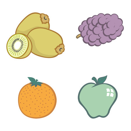 institutional: Illustration icons various fruits. Ideal for catalogs, informative and institutional materials